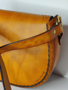 Retro Hand Tooled Latigo Leather Shoulder Bag - Hand-dyed and hand-stitched - Solid Brass hardware