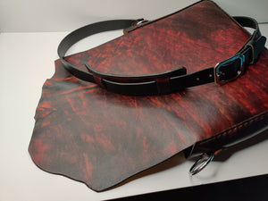 Handmade Natural Edge Latigo Leather Messenger / Laptop Bag - Hand-dyed, hand-stitched