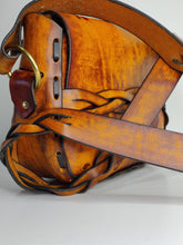 Handmade Latigo Leather Shoulder \ Crossbody Bag with Tooled flower design and Braided straps - Hand-dyed, hand laced - Solid Brass hardware