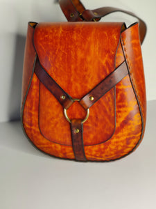 Large Handmade Latigo Leather Backpack - Hand-dyed and hand-stitched - Solid Brass hardware