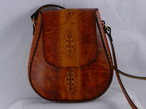 Handmade Latigo Leather Shoulder Bag - Hand-dyed, hand tooled, hand-stitched - Solid Brass hardware with magnetic clasp