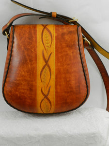 Handmade Latigo Leather Shoulder \ Crossbody Bag - Hand-dyed, hand tooled, hand-stitched - Solid Brass hardware with magnetic clasp