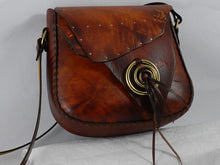 Natural Edge Latigo Leather Messenger Bag - Hand-dyed, hand-stitched - Solid Brass hardware