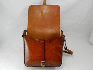 Handmade Latigo Leather Messenger Bag - Hand-dyed, hand-stitched - Solid Brass hardware