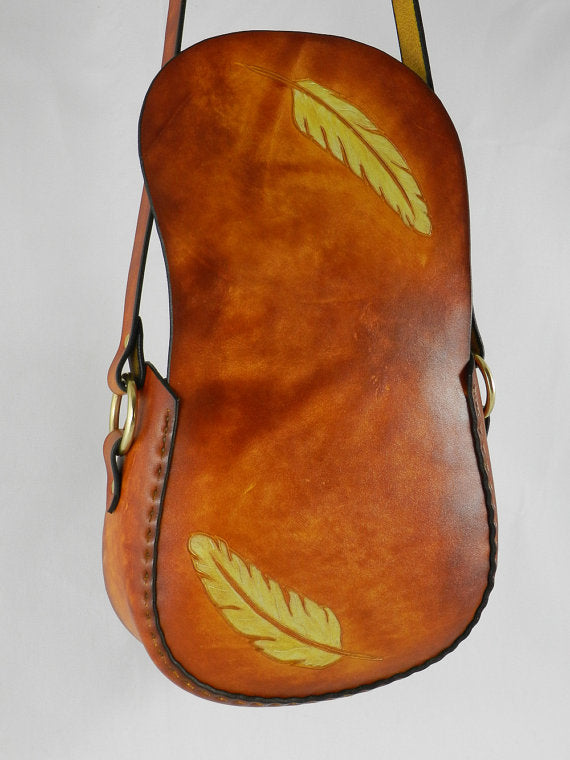 Handmade Carved Latigo Leather Shoulder Bag - Hand-carved, hand-dyed and hand-stitched - Brass hardware