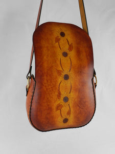 Handmade Latigo Leather Shoulder \ Crossbody Bag with Tooled Sunflower design - Hand-dyed, hand-stitched - Solid Brass hardware