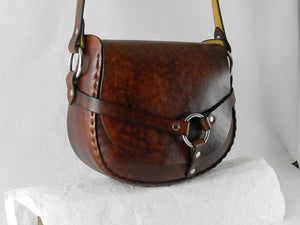 Handmade Latigo Leather Shoulder Bag - Hand-dyed and hand-stitched - Stainless Steel hardware