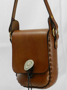Handmade Latigo Leather Shoulder \ Crossbody Bag - Hand-dyed and hand-stitched - Tie-down antler button closure - Solid Brass hardware