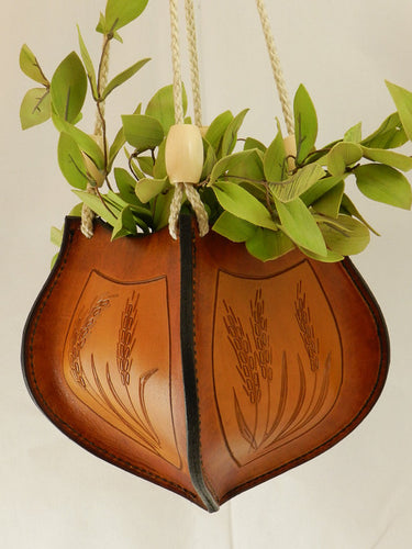 Handcrafted Tooled Latigo Leather Plant Hanger - Wheat Design