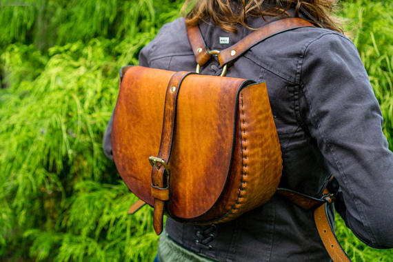 Made to Order - Custom Order - Large Handmade Latigo Leather Backpack - Hand-dyed and hand-stitched - Solid Brass hardware