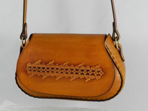 Tooled Latigo Leather Crossbody / Shoulder Bag - Hand-dyed, hand-stitched