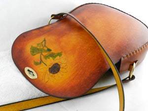 Handmade Latigo Leather Shoulder Bag - Hand-carved and tooled Sunflower, hand-dyed and hand-stitched