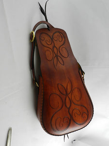 Handmade Carved Latigo Leather Shoulder Bag - Hand-dyed, hand tooled, hand-stitched - Solid Brass hardware