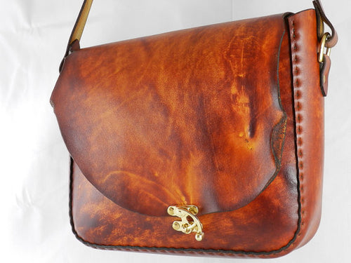 Handmade Natural Edge Latigo Leather Messenger Bag - Hand-dyed, hand-stitched