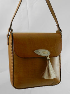 Handmade Latigo Leather Bag - Hand-dyed, hand-stitched - Stainless Steel hardware with deer antler button and horsehair tassel