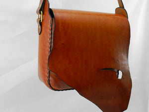 Handmade Natural Edge Latigo Leather Messenger Bag - Hand-dyed, hand-stitched - Solid Brass hardware