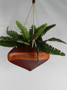 Handcrafted Tooled Latigo Leather Plant Hanger - Flower Design