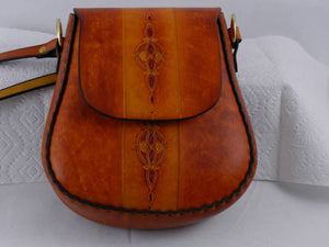 Handmade Tooled Latigo Leather Shoulder Bag \ Crossbody Bag - Hand-dyed, hand-stitched