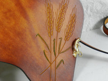 Hand Tooled Latigo Crossbody / Shoulder Bag - Hand-dyed, hand-stitched - Wheat Design