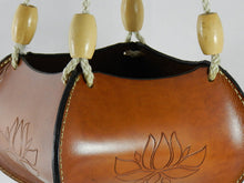 Handcrafted Tooled Latigo Leather Plant Hanger - Lotus Design
