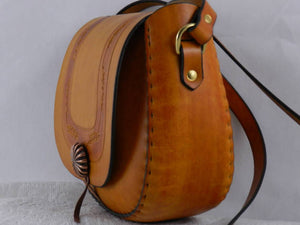 Handmade Latigo Leather Shoulder Bag \ Crossbody Bag - Hand-carved tooled, hand-dyed and hand-stitched - Brass hardware