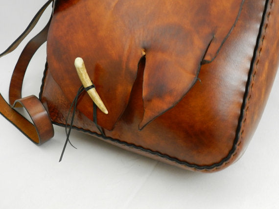 Handmade Natural Edge Latigo Leather Messenger Bag with Natural Edge Back Pocket - Hand-dyed, hand-stitched - Stainless Steel Hardware