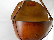 Large Handmade Latigo Leather Shoulder Bag - Hand-dyed, hand-stitched - Solid Brass hardware