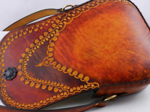 Tooled Latigo Leather Shoulder Bag \ Crossbody Bag - Hand-tooled, hand-dyed and hand-stitched with inner pocket