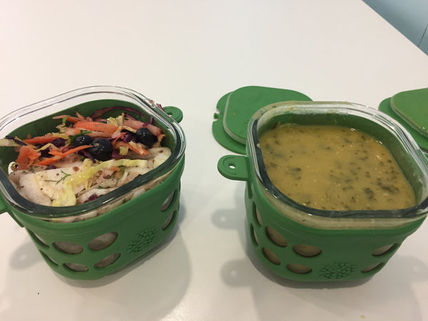 soup and salad in Lifefactory tub