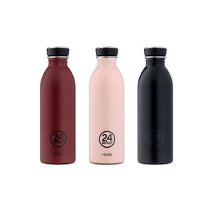 3 Urban lightweight reusable water bottles in country red (wine), dusty pink and black