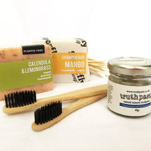 Plastic Free Bathroom Kit Superfly Calendula & Lemongrass Handmade Soap Bar, Superfly Mango Shampoo Bar, Truthpaste Natural Mineral Toothpaste Jar Peppermint & Wintergreen 40g, 2 Bamboo Toothbrushes, Bamboo Cottonbuds