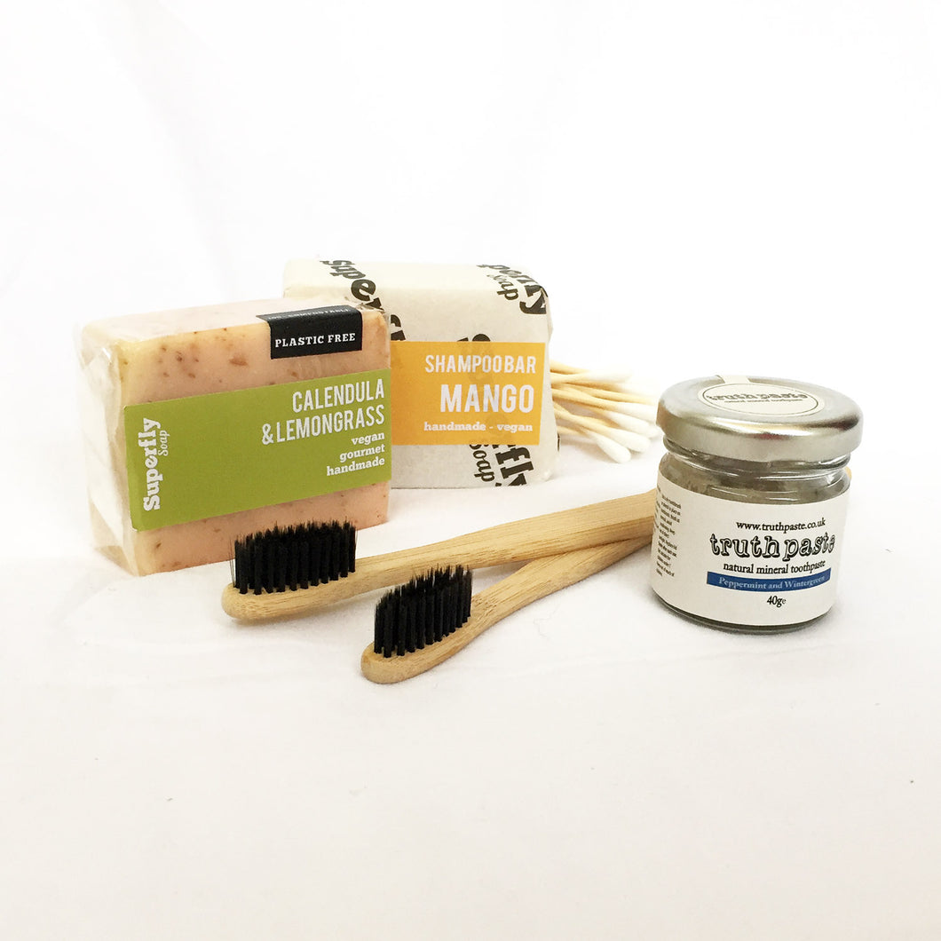Plastic Free Bathroom Kit Superfly Calendula & Lemongrass Handmade Soap Bar, Superfly Mango Shampoo Bar, Truthpaste Natural Mineral Toothpaste Jar Peppermint & Wintergreen 40g, 2 Bamboo Toothbrushes, Bamboo Cottonbuds.