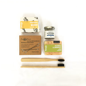 Plastic Free Bathroom Kit Superfly Calendula & Lemongrass Handmade Soap Bar, Superfly Mango Shampoo Bar, Truthpaste Natural Mineral Toothpaste Jar Peppermint & Wintergreen 40g, 2 Bamboo Toothbrushes, Bamboo Cottonbuds 100 pieces