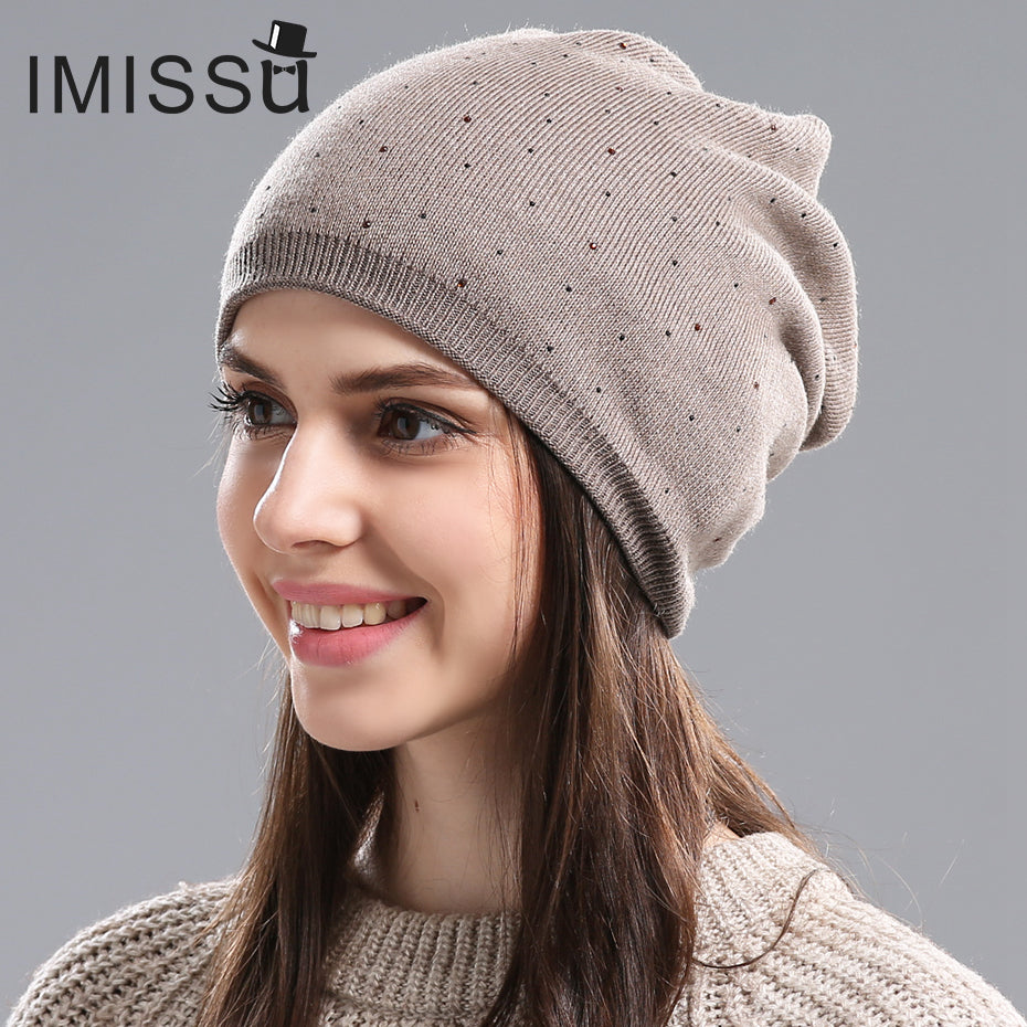 61834a5fb76 IMISSU Women s Winter Hat Knitted Wool Beanie Female Fashion Skullies Casual  Outdoor Mask Ski Caps Thick ...