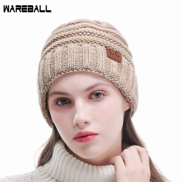 08121a9b133 WAREBALL Fashion Women Casual Beanies Skullies Warm Stripes Knitted Gorros  Bonnet Femme Autumn Winter Hats Caps