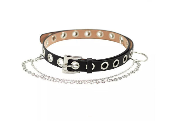 The eyelet chain drop belt