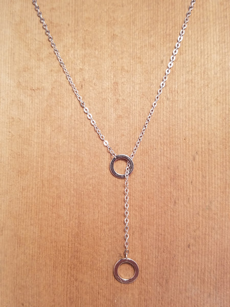 STERLING SILVER DOUBLE CIRLCE PENDANT NECKLACE