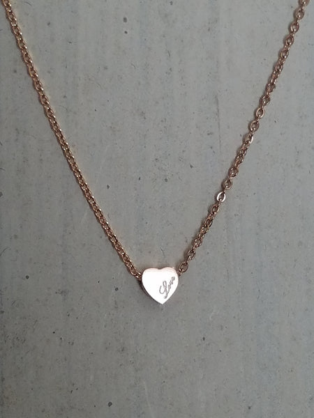 ROSE GOLD HEART NECKLACE TITANIUM STEEL