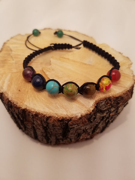 ADJUSTABLE CORDED CHAKRA BRACELET