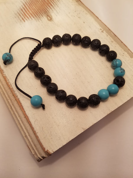 ADJUSTABLE LAVA STONE AND TURQUOISE BRACELET
