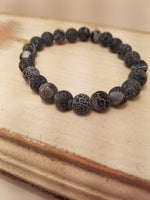 MATTE BLACK AGATE STONE CRACKLED BRACELET