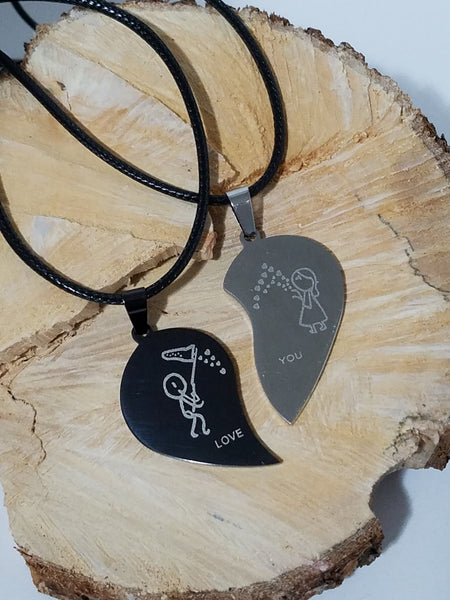 'LOVE YOU' COUPLES NECKLACE SET STAINLESS STEEL