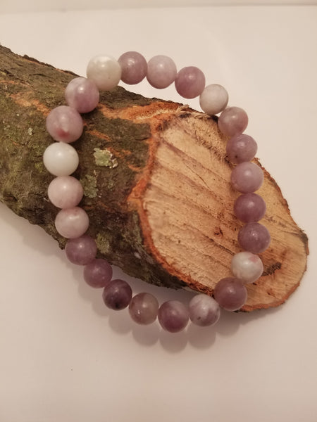 PURPLE AND GREY NATURAL STONE BEADED BRACELET