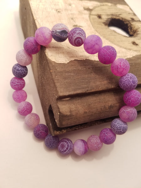 MATTE PURPLE AGATE STONE CRACKLED BEADED BRACELET