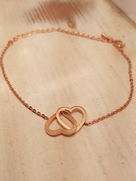 DOUBLE HEART BRACELET ROSE GOLD STAINLESS STEEL