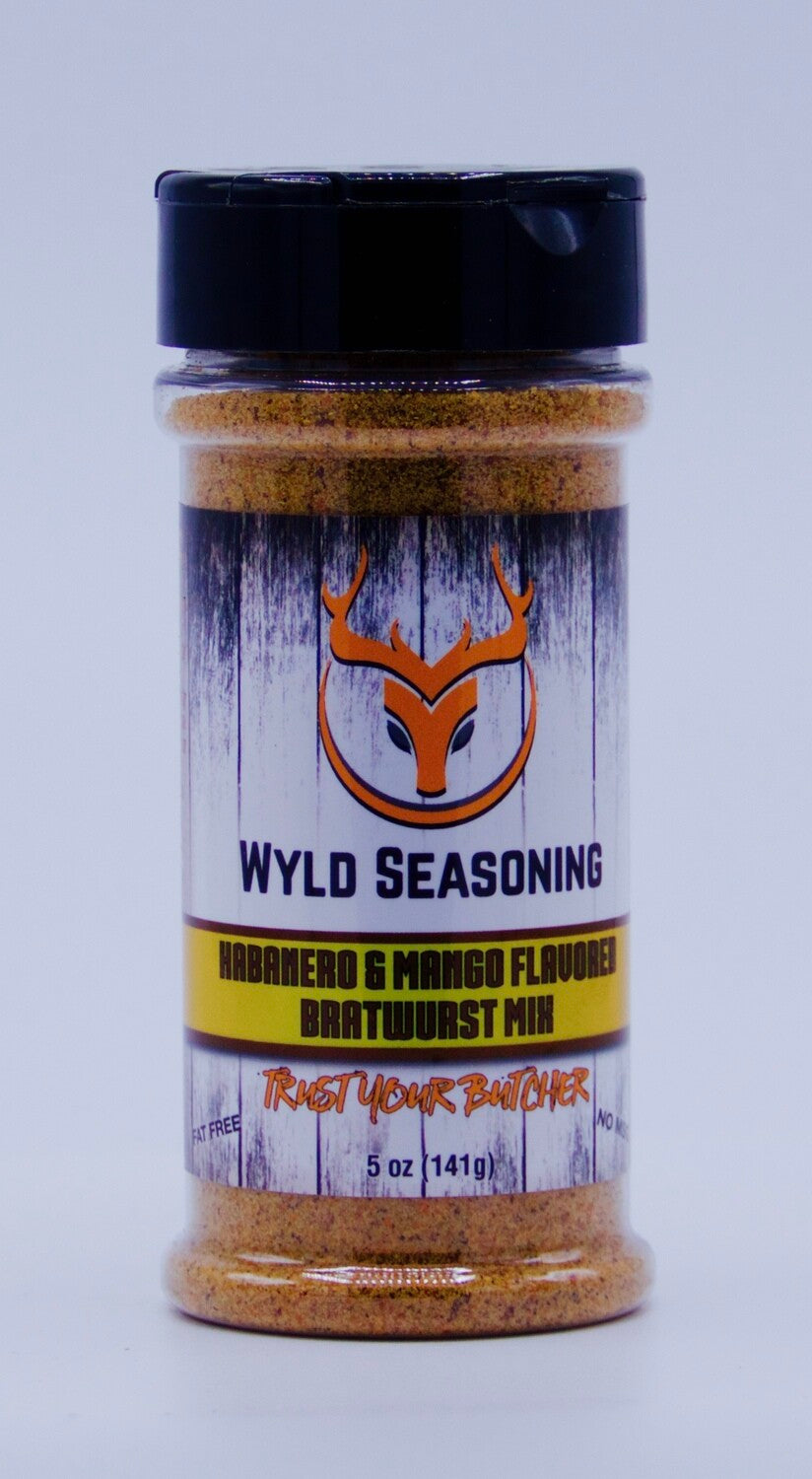 Wyld Seasoning Habanero & Mango Flavored Bratwurst Mix 5 oz.