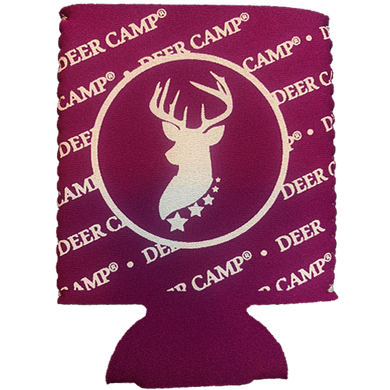 DEER CAMP® Coffee No Trespassing™ Cooler Comrade™  Can Cooler (Purple | White)