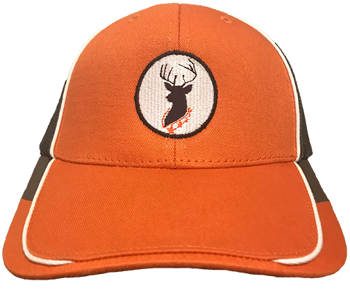 Buck Baits Deer Head Logo Orange | White | Gray Mesh Back Cap - Buck Baits