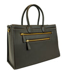 'She Won' Grain Vegan Tanned Leather Laptop Work Bag Dark Chocolate