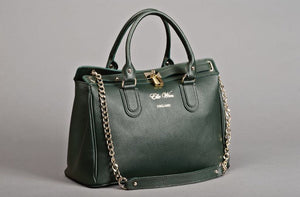 Dark green Versatile bag in trunk. Stylish work and everyday handbag